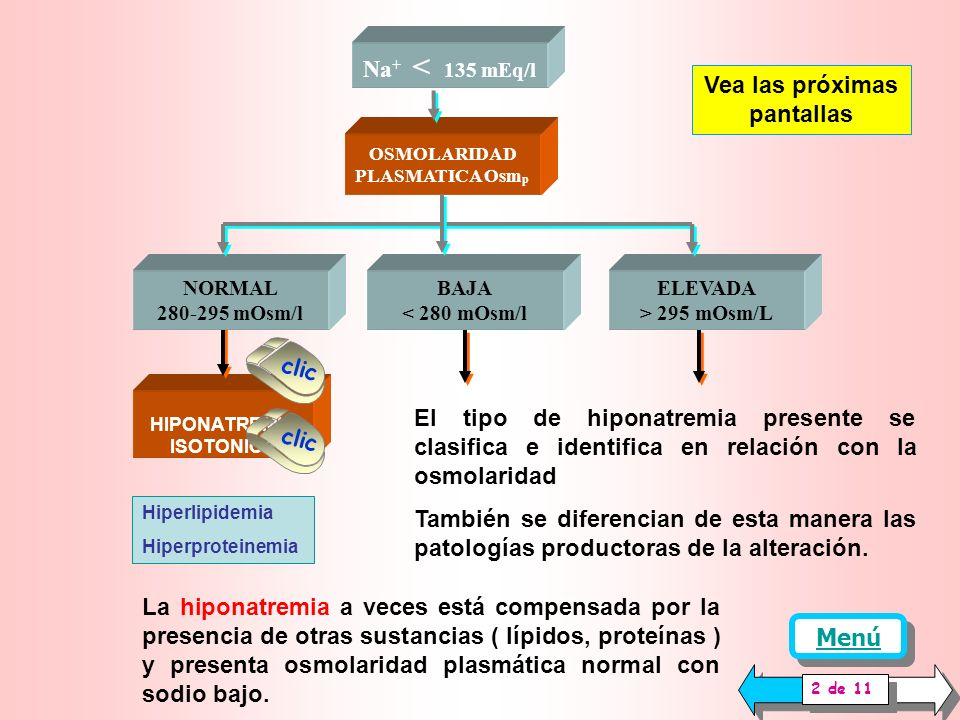 Na + < 135 mEq/l OSMOLARIDAD PLASMATICA Osm p NORMAL 280-295 mOsm/l ELEVADA > 295 mOsm/L BAJA < 280 mOsm/l 1 de 11 Vea las próximas pantallas La presencia de sodio bajo en plasma se determina por fotome tría de llama y se denomina hiponatremia La osmolaridad plasmática se determina por Cálculo como la suma de 2 Na + mEq/l + K + mEq/l + glucosa mMol / l Por medición del descenso de la temperatura de congelamiento del plasma (osmómetro) La forma aconsejada es la medición de osmolaridad, pues el cálculo está modificado por numerosas sustancias que no se miden y pueden estar presentes (Lípidos, proteínas, dextrano, manitol) El sodio es el electrolito mas abundante en plasma y está asociado con el control renal del agua y la osmolaridad corporal.