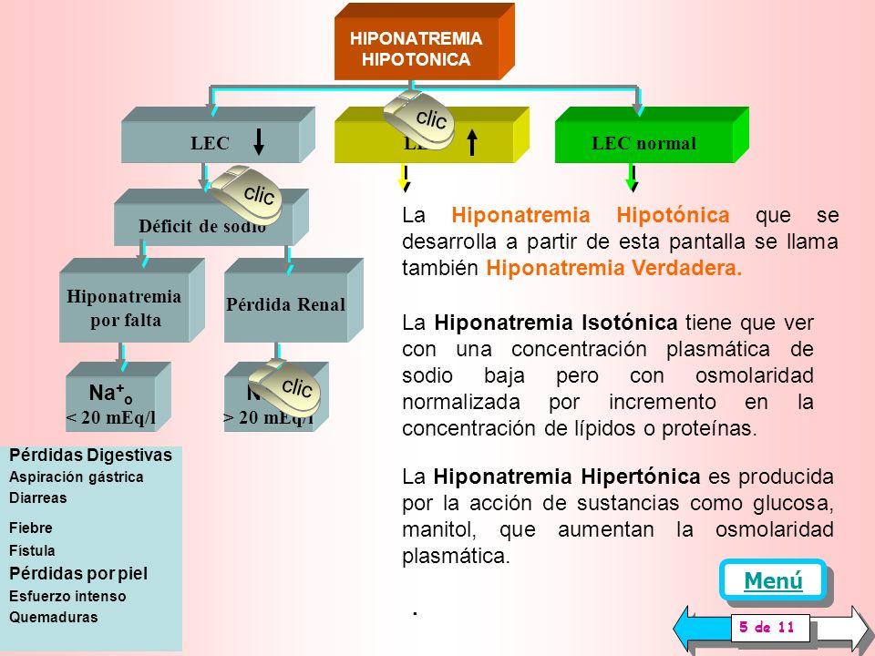 HIPONATREMIA HIPERTONICA Etilenglicol Glicol Hiperglucemia Manitol, glicerol Metanol, etanol HIPONATREMIA HIPOTONICA ANALIZAR O MEDIR Estado de la piel Peso Presión arterial Volumen líquido )extracelular (LEC) Na + < 135 mEq/l OSMOLARIDAD PLASMATICA Osmp NORMAL 280-295 mOsm/l ELEVADA > 295 mOsm/L HIPONATREMIA ISOTONICA BAJA < 280 mOsm/l Hiperlipidemia Hiperproteinemia clic Cuando el sodio plasmático bajo se acompaña de presencia exagerada de sustancias que aumentan la osmo laridad se caracteriza una hiponatremia hipertónica o hiperosmótica.