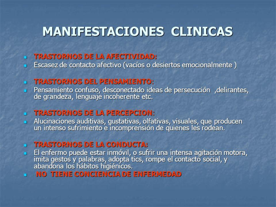 MANIFESTACIONES CLINICAS TRASTORNOS DE LA AFECTIVIDAD: TRASTORNOS DE LA AFECTIVIDAD: Escasez de contacto afectivo (vacíos o desiertos emocionalmente )