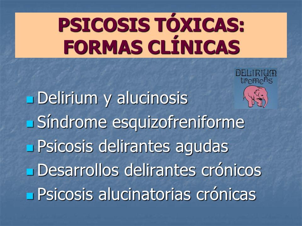 PSICOSIS TÓXICAS: FORMAS CLÍNICAS Delirium y alucinosis Delirium y alucinosis Síndrome esquizofreniforme Síndrome esquizofreniforme Psicosis delirante