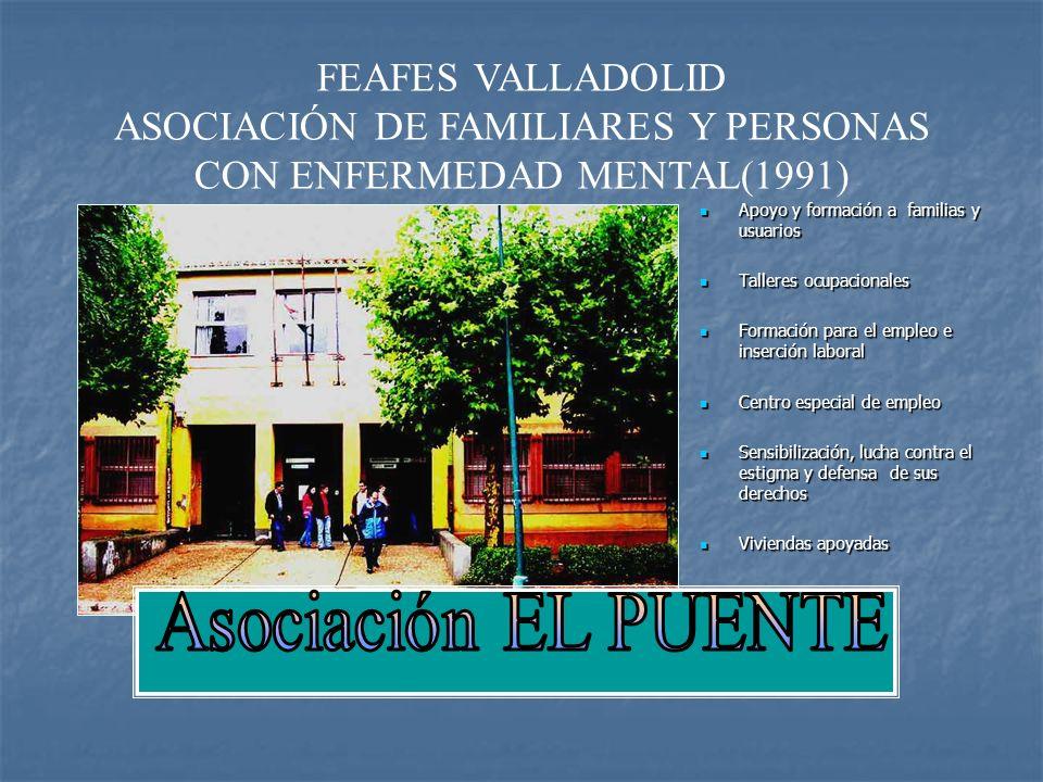 FEAFES VALLADOLID ASOCIACIÓN DE FAMILIARES Y PERSONAS CON ENFERMEDAD MENTAL(1991) Apoyo y formación a familias y usuarios Apoyo y formación a familias