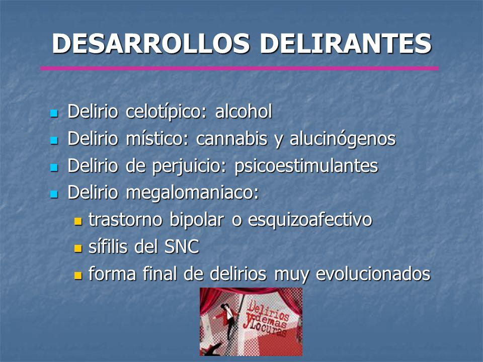 DESARROLLOS DELIRANTES Delirio celotípico: alcohol Delirio celotípico: alcohol Delirio místico: cannabis y alucinógenos Delirio místico: cannabis y al