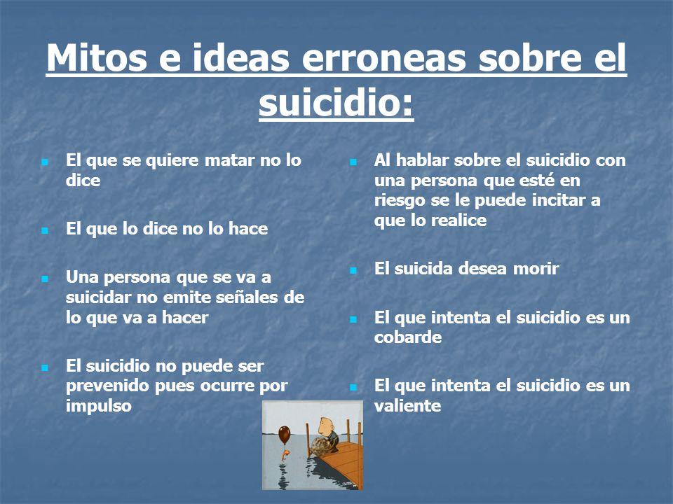 Mitos e ideas erroneas sobre el suicidio: El que se quiere matar no lo dice El que lo dice no lo hace Una persona que se va a suicidar no emite señale