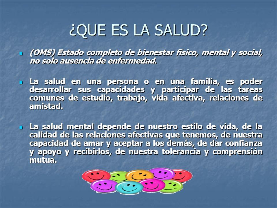 ¿QUE ES LA SALUD? (OMS) Estado completo de bienestar físico, mental y social, no solo ausencia de enfermedad. (OMS) Estado completo de bienestar físic