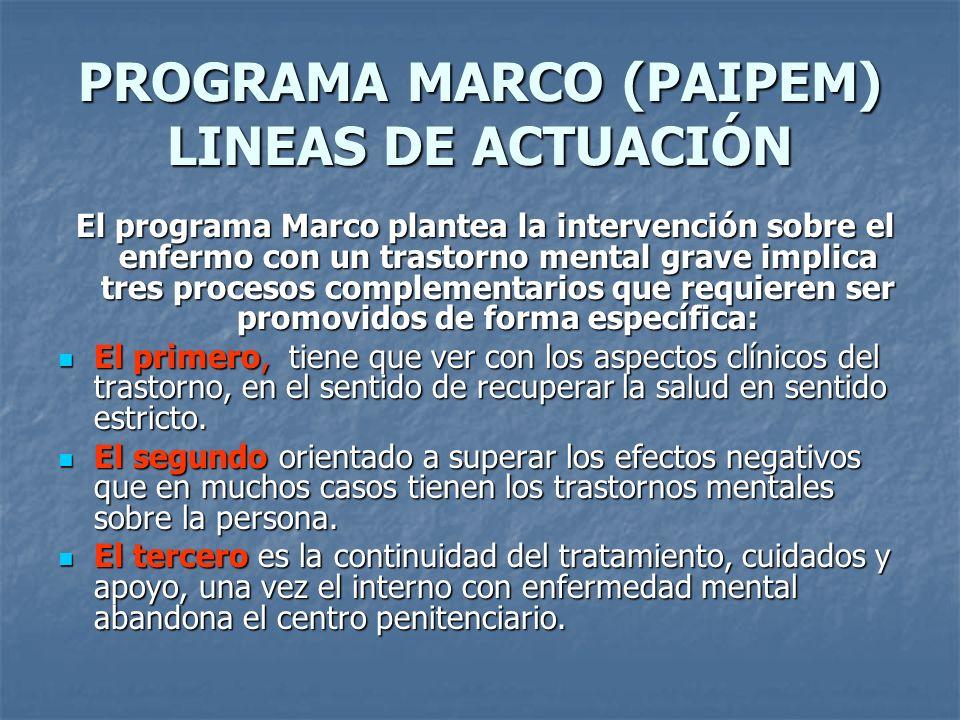 PROGRAMA MARCO (PAIPEM) LINEAS DE ACTUACIÓN El programa Marco plantea la intervención sobre el enfermo con un trastorno mental grave implica tres proc