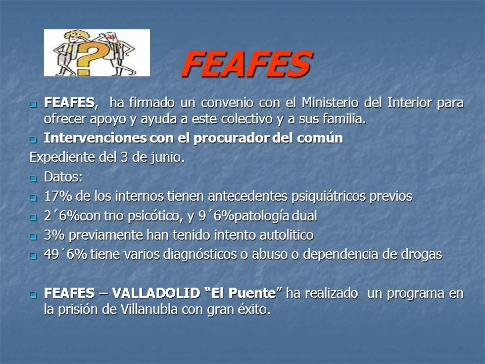 FEAFES FEAFES, ha firmado un convenio con el Ministerio del Interior para ofrecer apoyo y ayuda a este colectivo y a sus familia. FEAFES, ha firmado u
