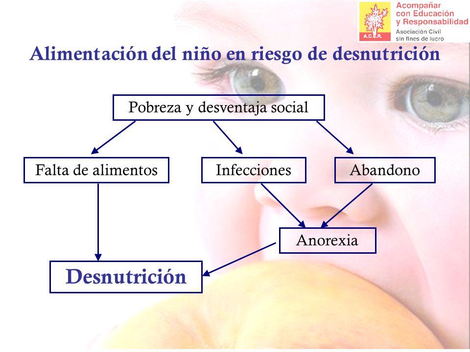 Alimentación del niño en riesgo de desnutrición Pobreza y desventaja social InfeccionesFalta de alimentosAbandono Anorexia Desnutrición
