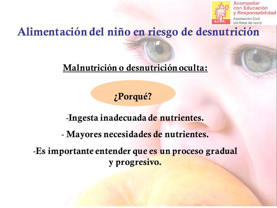 Alimentación del niño en riesgo de desnutrición Malnutrición o desnutrición oculta: - Ingesta inadecuada de nutrientes. - Mayores necesidades de nutri