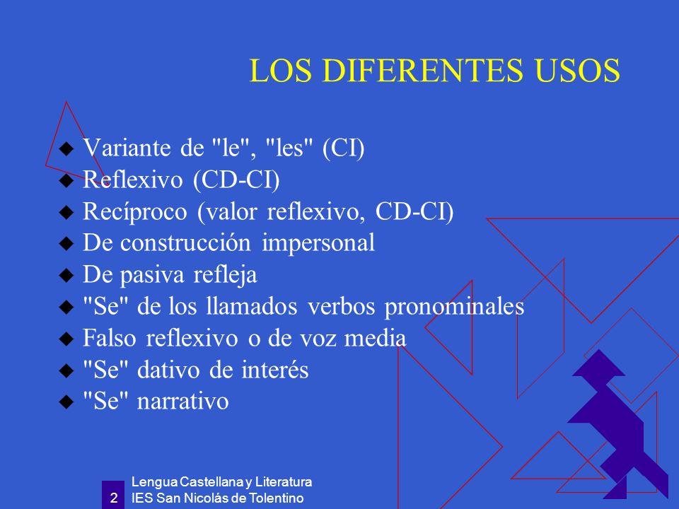Lengua Castellana y Literatura IES San Nicolás de Tolentino 13 Se narrativo Es un se completamente redundante, porque añade matices innecesarios de reflexividad al verbo ser: lo que es ya se es.