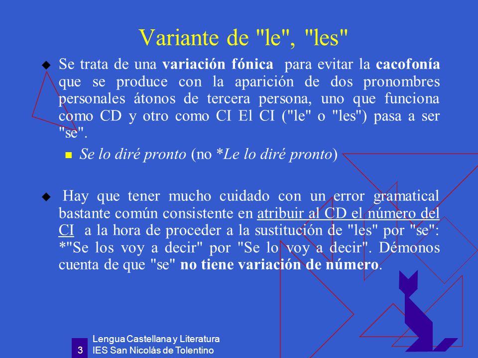 Lengua Castellana y Literatura IES San Nicolás de Tolentino 4 Reflexivo Expresa el objeto de una acción que, procedente de un sujeto de 3ª persona, singular o plural, recae sobre el mismo.