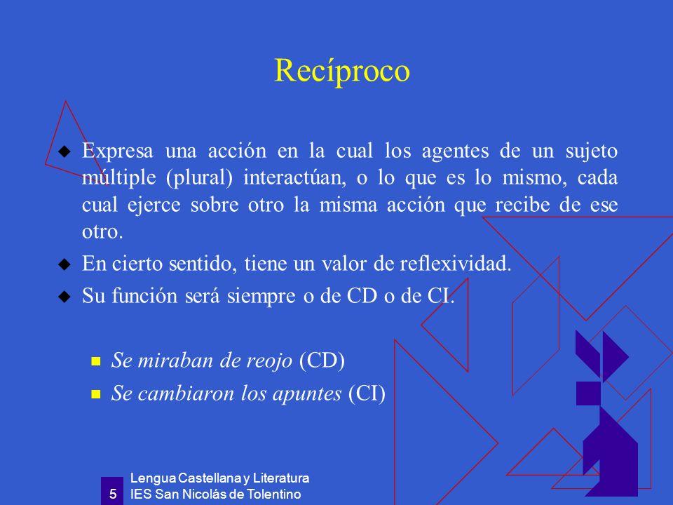 Lengua Castellana y Literatura IES San Nicolás de Tolentino 6 De construcción impersonal Se evita con él mencionar a quien realiza la acción.