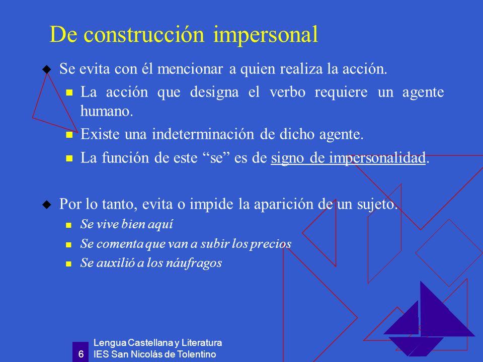 Lengua Castellana y Literatura IES San Nicolás de Tolentino 7 De pasiva refleja Introduce una construcción sintáctica equivalente a una oración con verbo en voz pasiva.