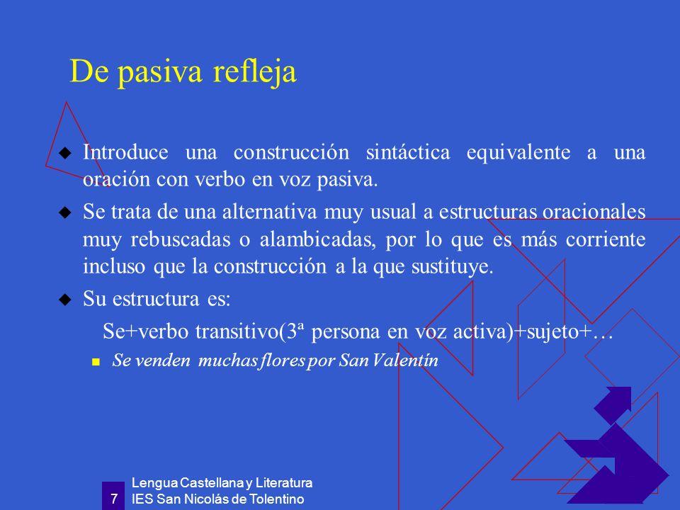 Lengua Castellana y Literatura IES San Nicolás de Tolentino 8 Existe gran parecido entre las construcciones impersonales con se y las construcciones de pasiva refleja con se .