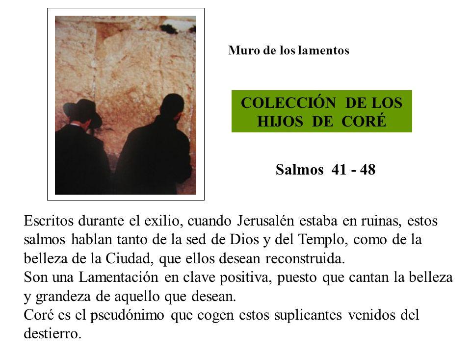 Muro de los lamentos COLECCIÓN DE LOS HIJOS DE CORÉ Salmos 41 - 48 Escritos durante el exilio, cuando Jerusalén estaba en ruinas, estos salmos hablan
