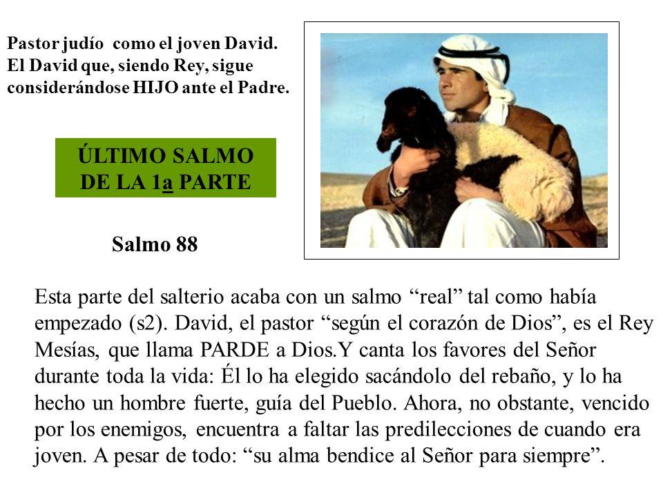 Salmo 88 Pastor judío como el joven David. El David que, siendo Rey, sigue considerándose HIJO ante el Padre. ÚLTIMO SALMO DE LA 1a PARTE Esta parte d
