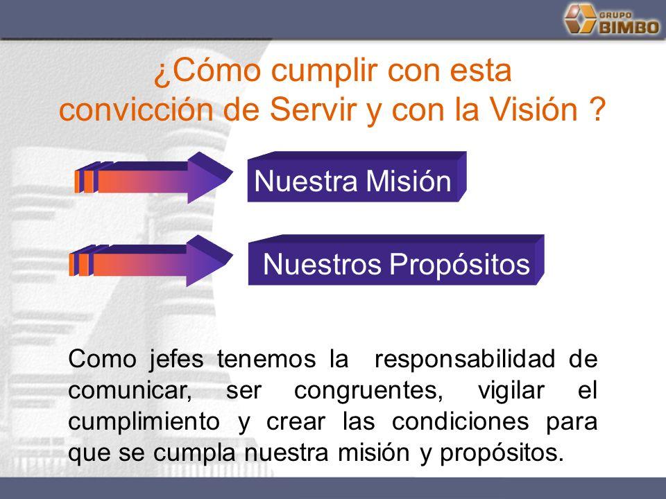 ¿Cómo cumplir con esta convicción de Servir y con la Visión ? Nuestra Misión Nuestros Propósitos Como jefes tenemos la responsabilidad de comunicar, s