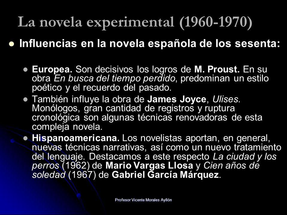 Profesor Vicente Morales Ayllón Influencias en la novela española de los sesenta: Europea. Son decisivos los logros de M. Proust. En su obra En busca