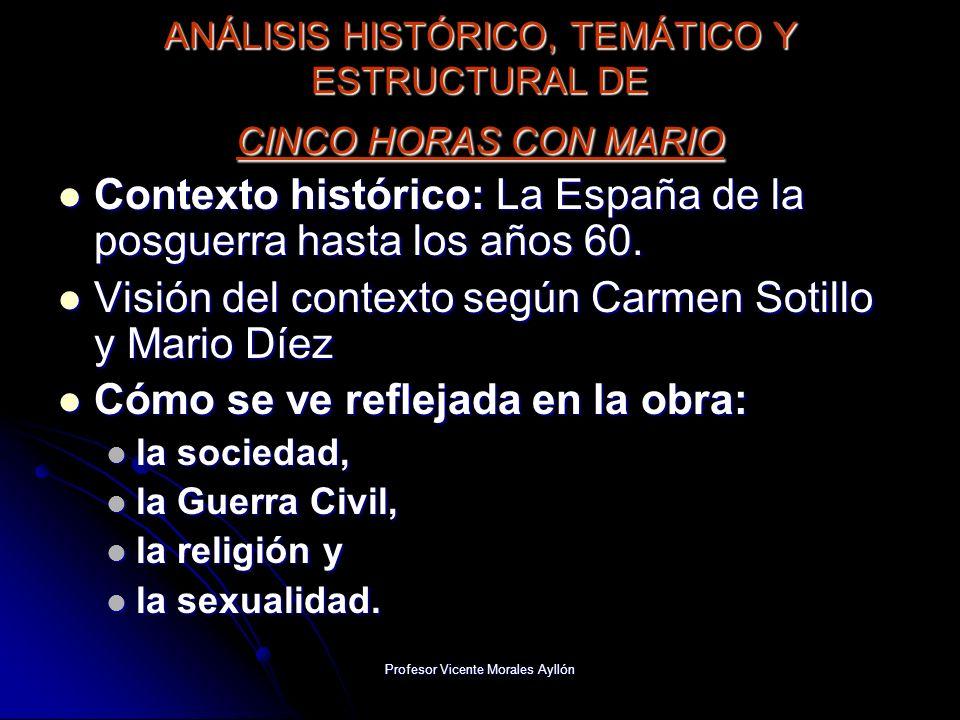 Profesor Vicente Morales Ayllón ANÁLISIS HISTÓRICO, TEMÁTICO Y ESTRUCTURAL DE CINCO HORAS CON MARIO Contexto histórico: La España de la posguerra hast