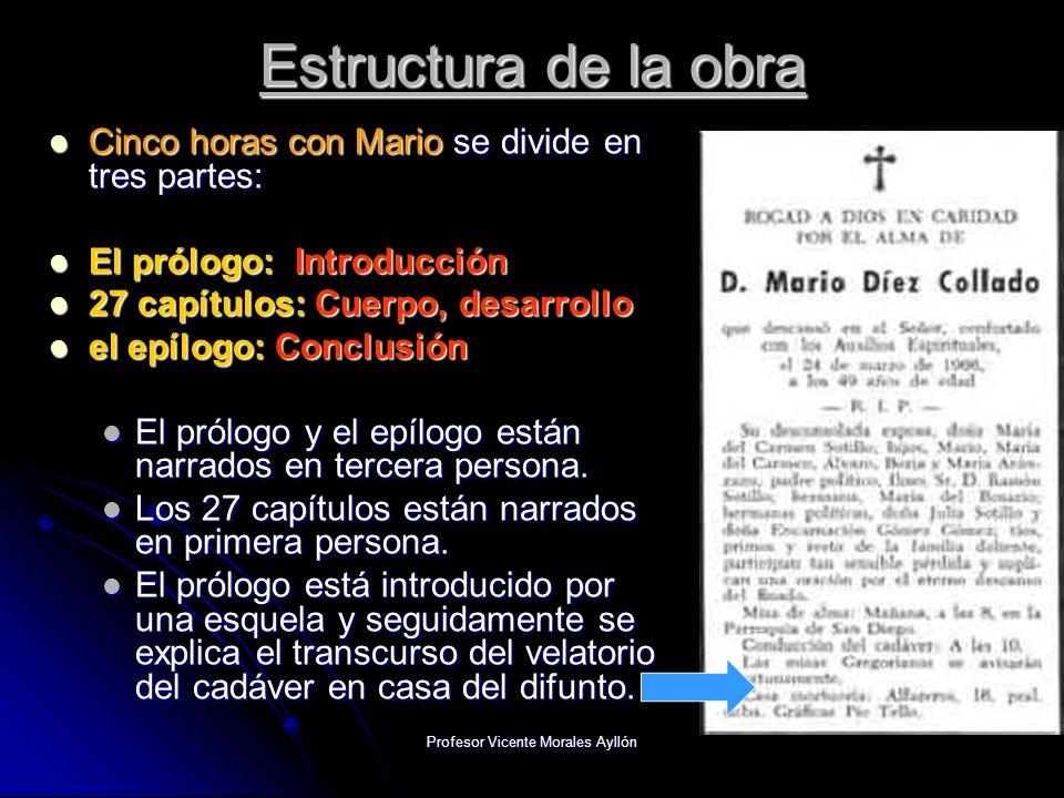 Profesor Vicente Morales Ayllón Estructura de la obra Cinco horas con Mario se divide en tres partes: Cinco horas con Mario se divide en tres partes:
