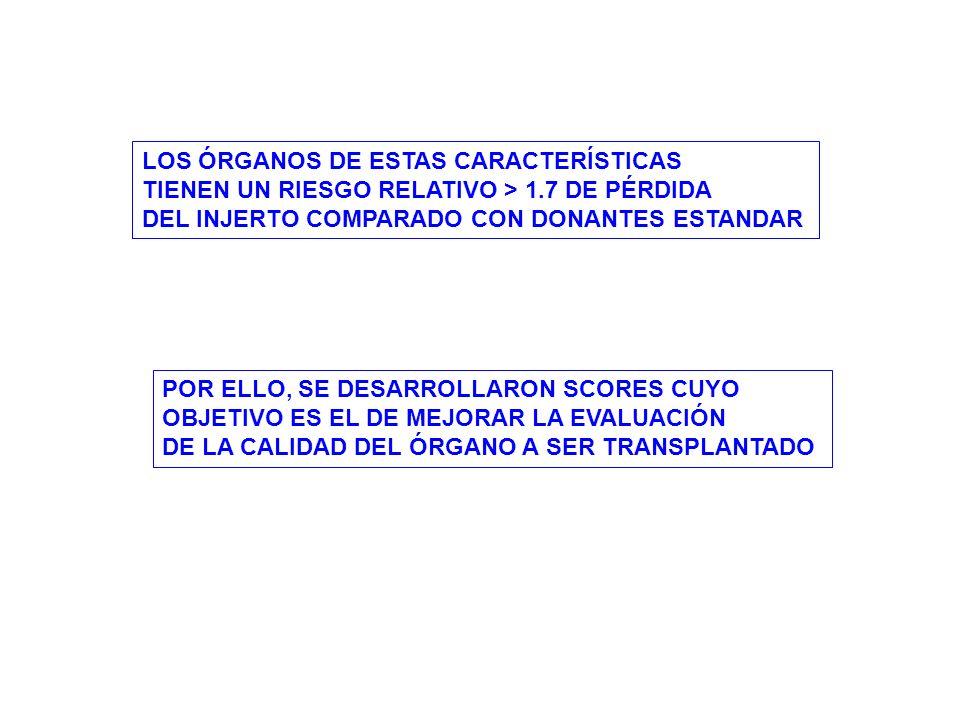 LOS ÓRGANOS DE ESTAS CARACTERÍSTICAS TIENEN UN RIESGO RELATIVO > 1.7 DE PÉRDIDA DEL INJERTO COMPARADO CON DONANTES ESTANDAR POR ELLO, SE DESARROLLARON