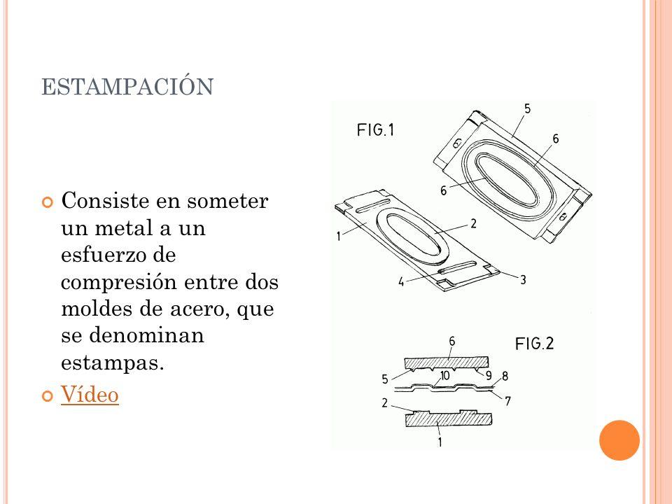 ESTAMPACIÓN Consiste en someter un metal a un esfuerzo de compresión entre dos moldes de acero, que se denominan estampas. Vídeo