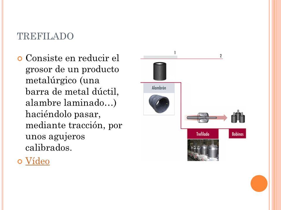 TREFILADO Consiste en reducir el grosor de un producto metalúrgico (una barra de metal dúctil, alambre laminado…) haciéndolo pasar, mediante tracción,