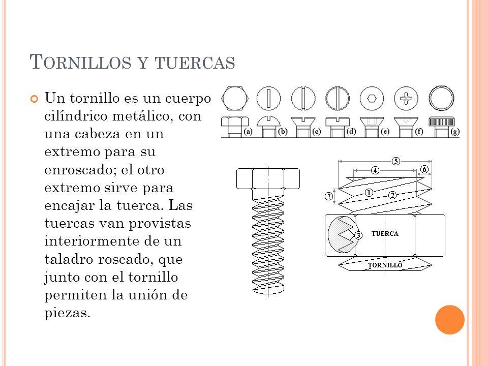 T ORNILLOS Y TUERCAS Un tornillo es un cuerpo cilíndrico metálico, con una cabeza en un extremo para su enroscado; el otro extremo sirve para encajar