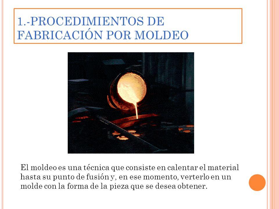 1.-PROCEDIMIENTOS DE FABRICACIÓN POR MOLDEO El moldeo es una técnica que consiste en calentar el material hasta su punto de fusión y, en ese momento,