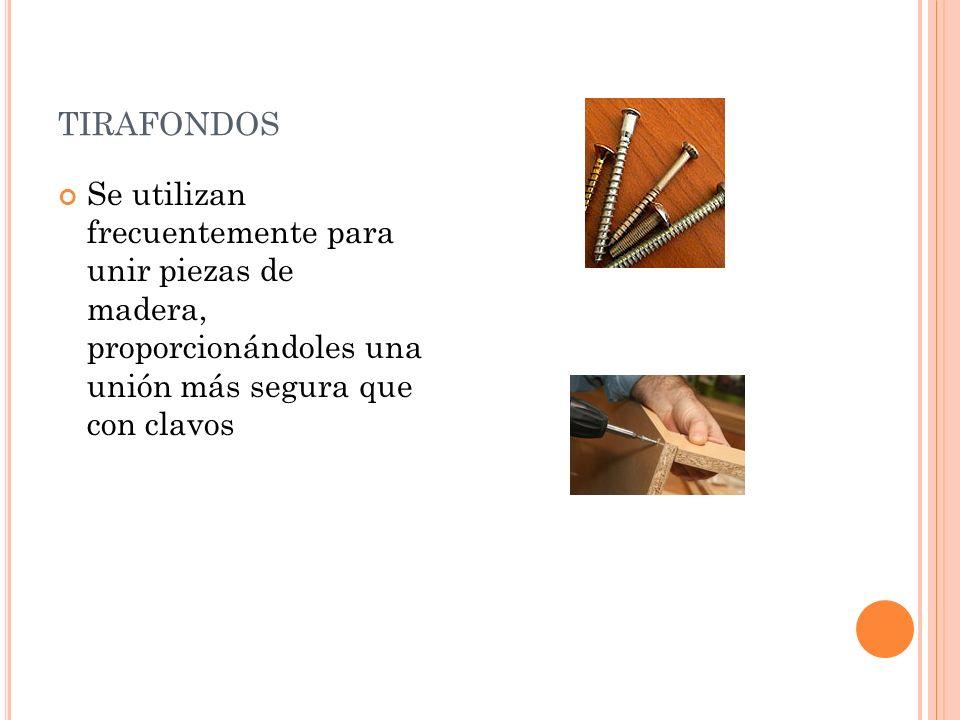 TIRAFONDOS Se utilizan frecuentemente para unir piezas de madera, proporcionándoles una unión más segura que con clavos