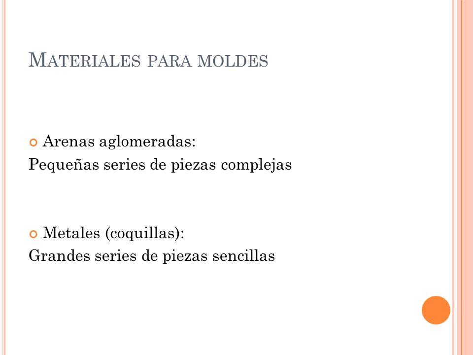 M ATERIALES PARA MOLDES Arenas aglomeradas: Pequeñas series de piezas complejas Metales (coquillas): Grandes series de piezas sencillas
