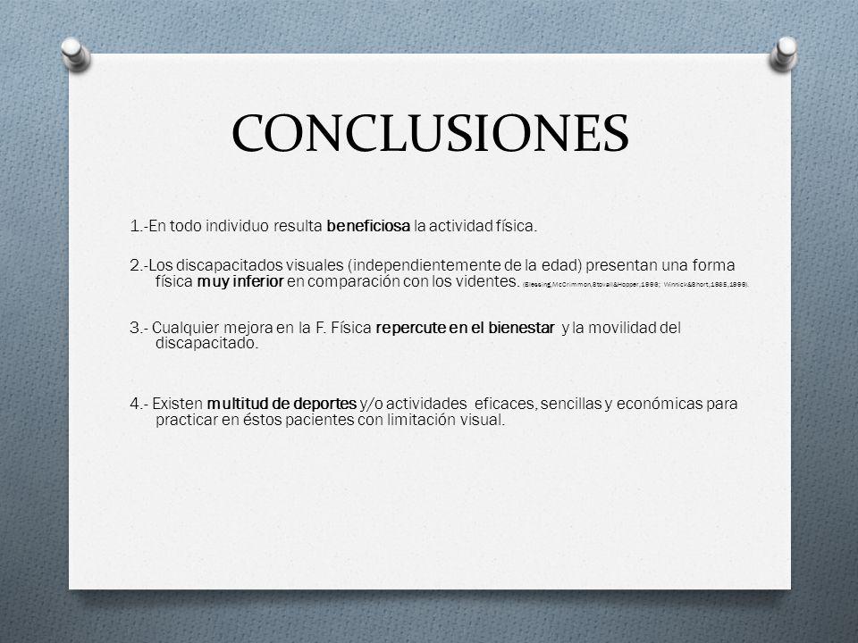 CONCLUSIONES 1.-En todo individuo resulta beneficiosa la actividad física.