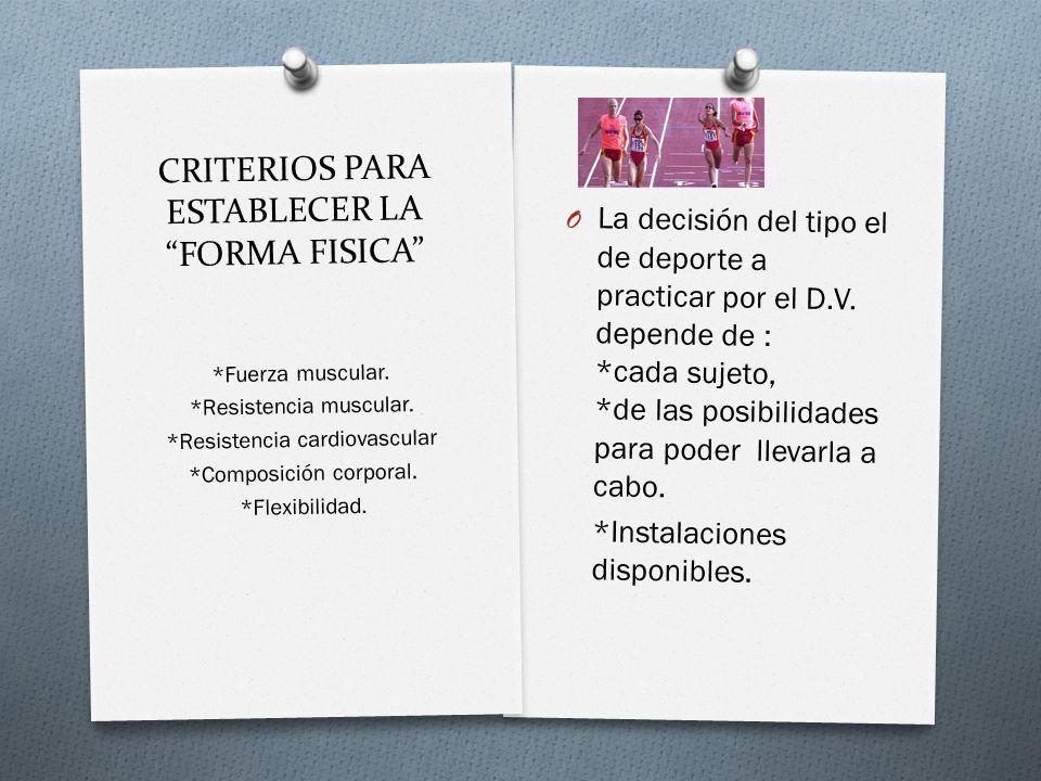 CRITERIOS PARA ESTABLECER LA FORMA FISICA O La decisión del tipo el de deporte a practicar por el D.V.