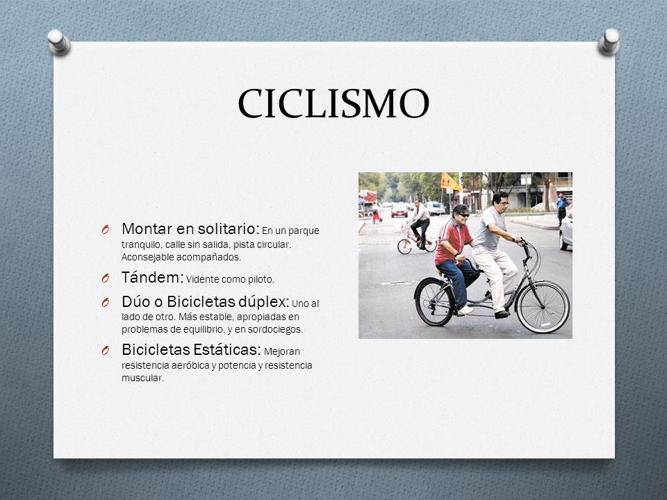 CICLISMO O Montar en solitario: En un parque tranquilo, calle sin salida, pista circular.