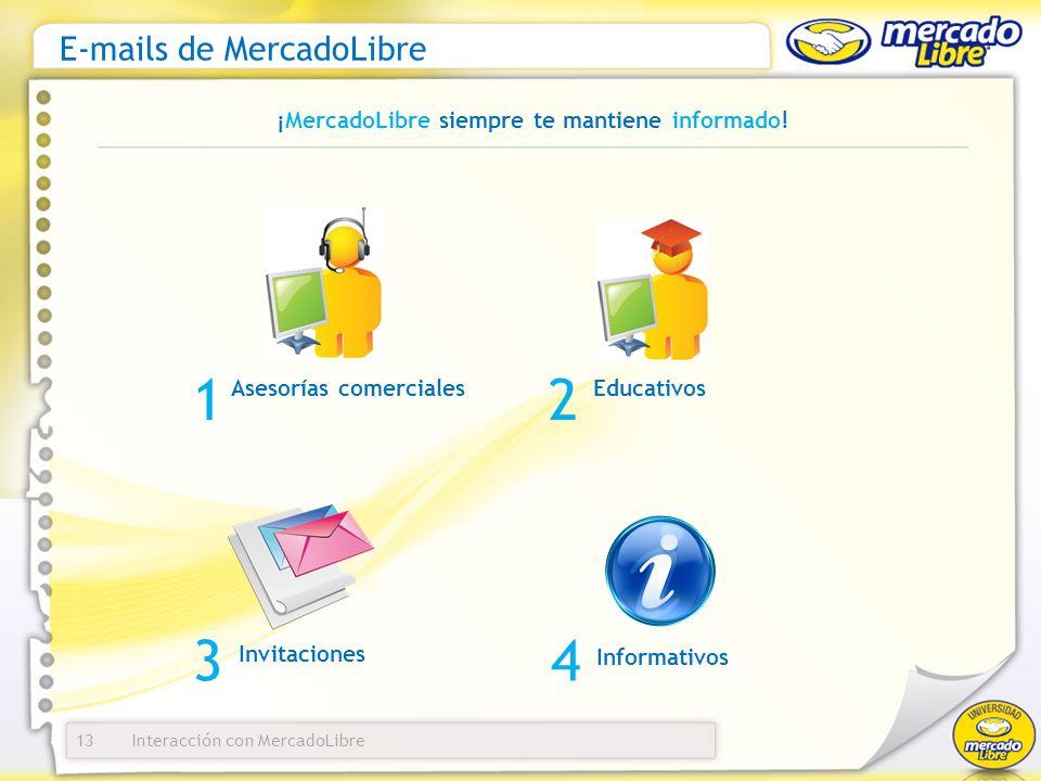 Interacción con MercadoLibre E-mails de MercadoLibre 13 ¡MercadoLibre siempre te mantiene informado.