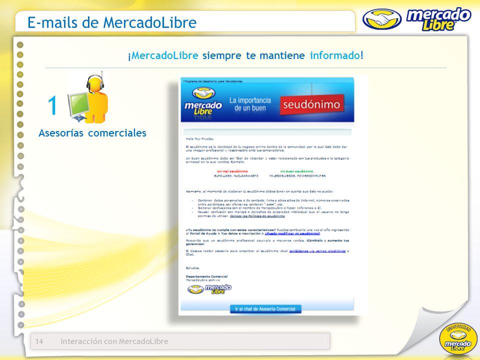 Interacción con MercadoLibre E-mails de MercadoLibre 14 ¡MercadoLibre siempre te mantiene informado! Asesorías comerciales 1