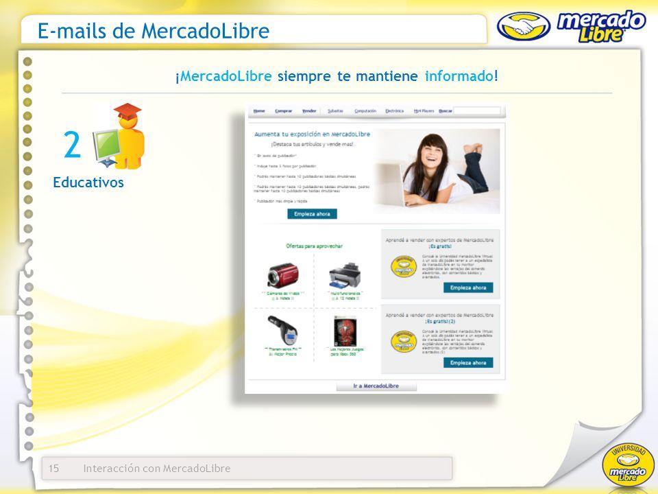 Interacción con MercadoLibre E-mails de MercadoLibre 15 ¡MercadoLibre siempre te mantiene informado! Educativos 2