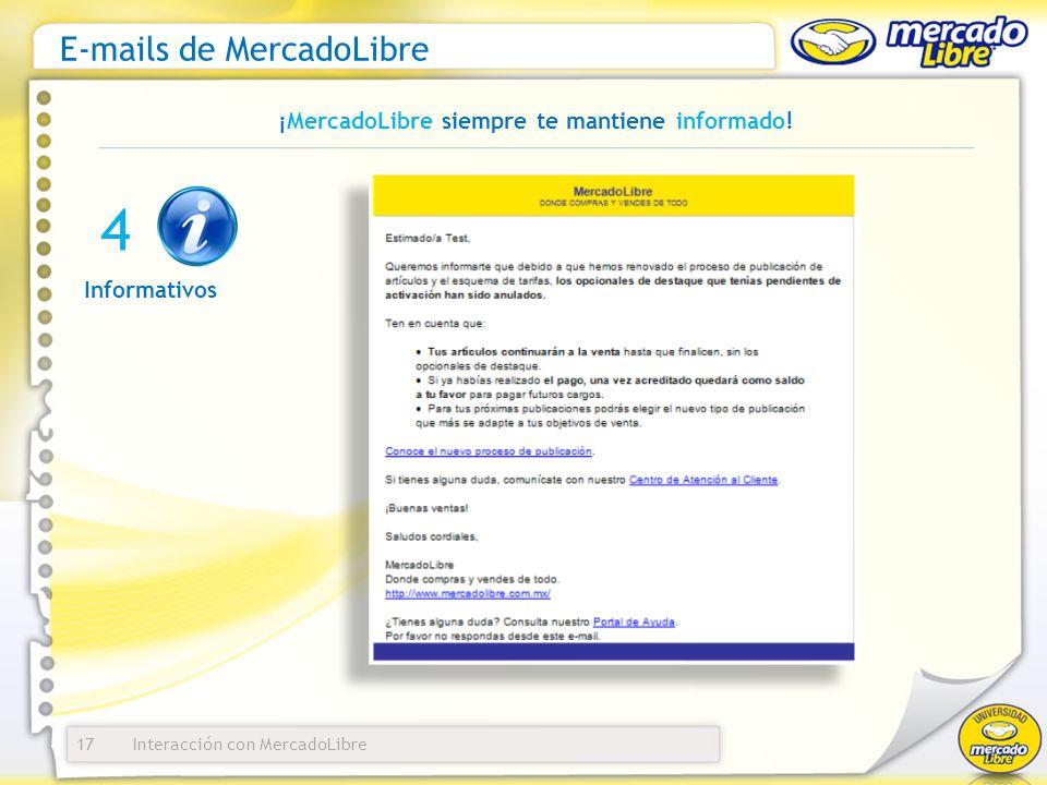 Interacción con MercadoLibre E-mails de MercadoLibre 17 ¡MercadoLibre siempre te mantiene informado! Informativos 4