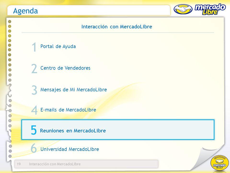 Interacción con MercadoLibre Agenda Portal de Ayuda 19 1 2 3 Centro de Vendedores Mensajes de Mi MercadoLibre E-mails de MercadoLibre 4 Interacción co