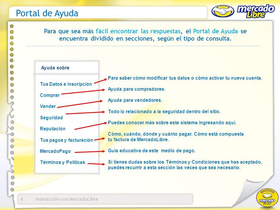 Interacción con MercadoLibre Portal de Ayuda 4 Para que sea más fácil encontrar las respuestas, el Portal de Ayuda se encuentra dividido en secciones, según el tipo de consulta.