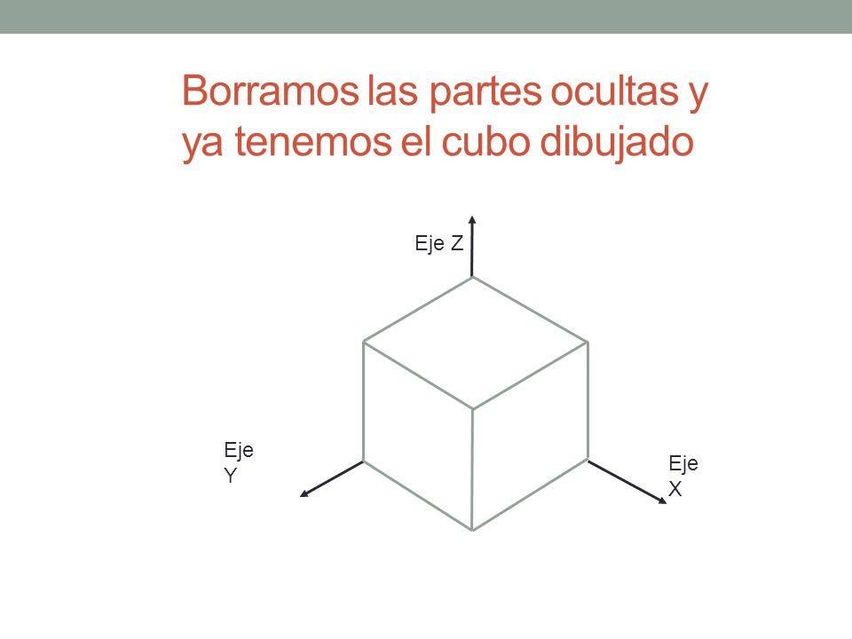 Borramos las partes ocultas y ya tenemos el cubo dibujado Eje Y Eje Z Eje X