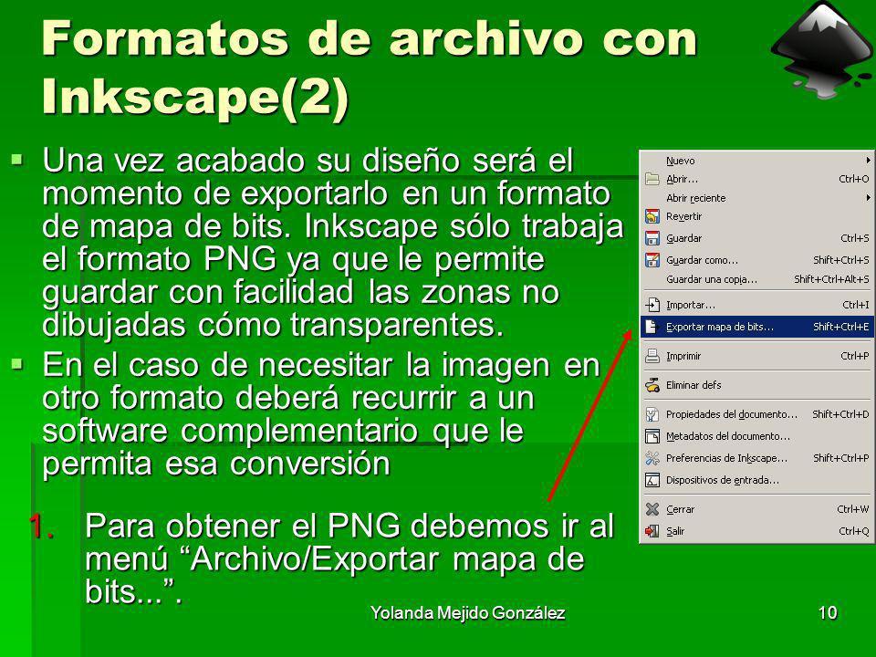 Yolanda Mejido González10 Formatos de archivo con Inkscape(2) Una vez acabado su diseño será el momento de exportarlo en un formato de mapa de bits. I