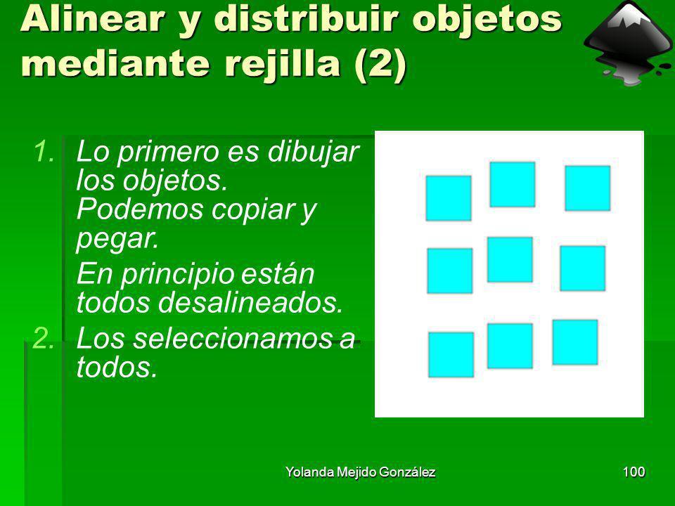 Yolanda Mejido González100 Alinear y distribuir objetos mediante rejilla (2) 1.Lo primero es dibujar los objetos. Podemos copiar y pegar. En principio