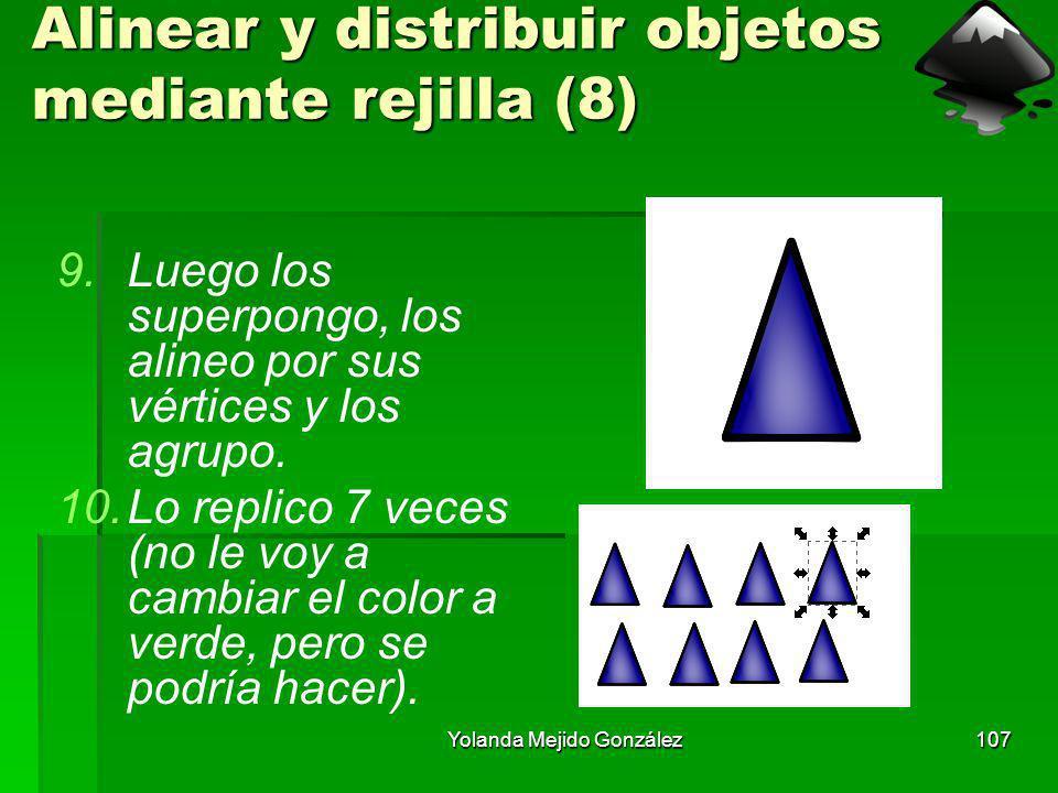 Yolanda Mejido González107 Alinear y distribuir objetos mediante rejilla (8) 9.Luego los superpongo, los alineo por sus vértices y los agrupo. 10.Lo r