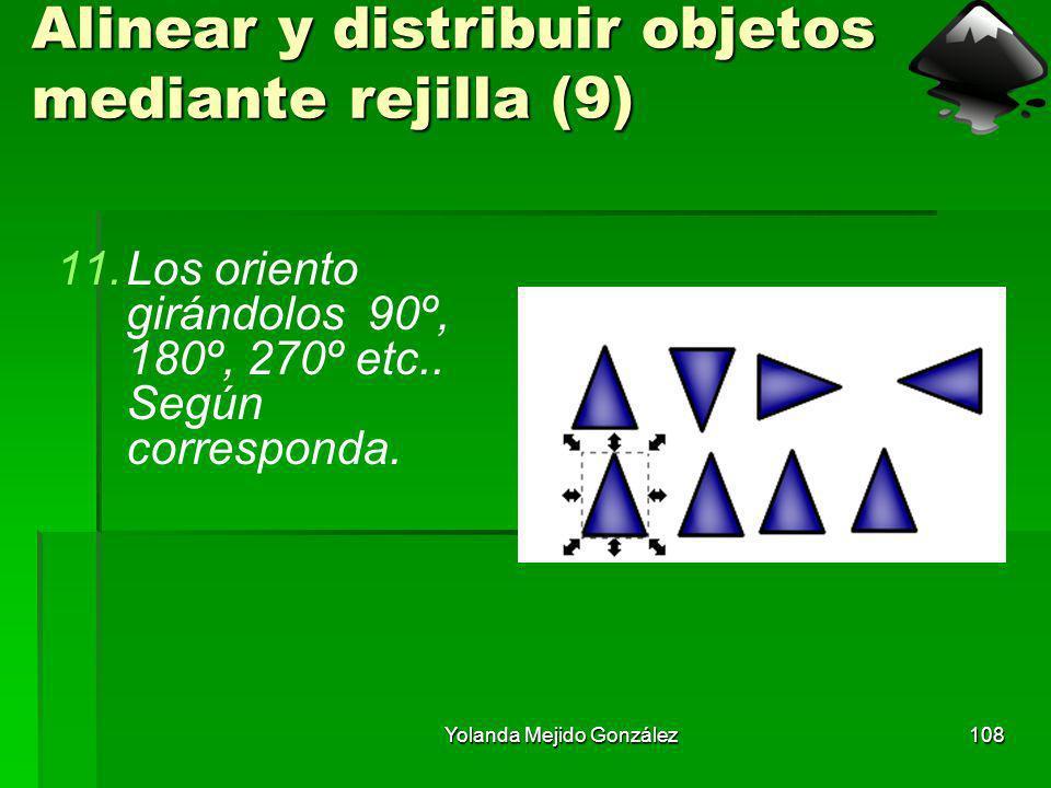 Yolanda Mejido González108 Alinear y distribuir objetos mediante rejilla (9) 11.Los oriento girándolos 90º, 180º, 270º etc.. Según corresponda.