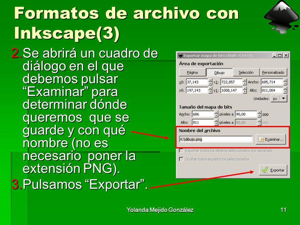 Yolanda Mejido González11 Formatos de archivo con Inkscape(3) 2.Se abrirá un cuadro de diálogo en el que debemos pulsar Examinar para determinar dónde