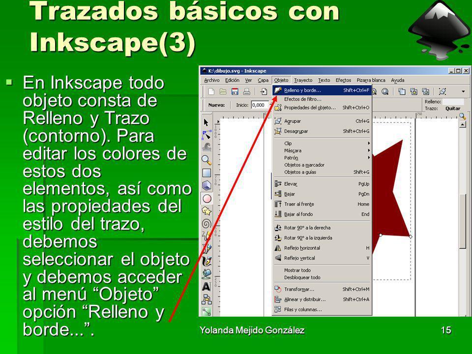 Yolanda Mejido González15 Trazados básicos con Inkscape(3) En Inkscape todo objeto consta de Relleno y Trazo (contorno). Para editar los colores de es