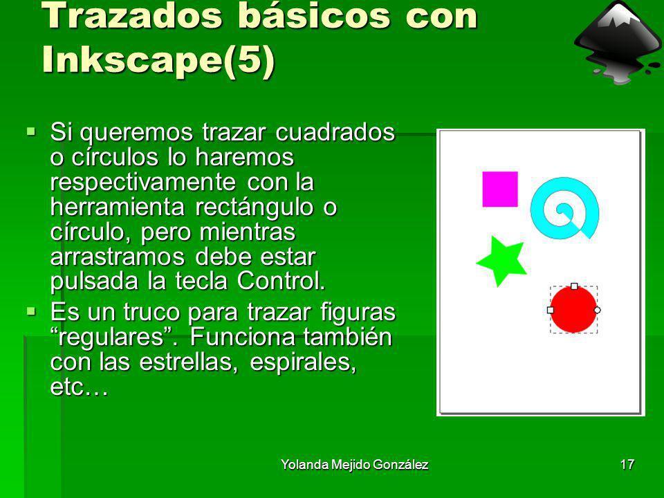 Yolanda Mejido González17 Trazados básicos con Inkscape(5) Si queremos trazar cuadrados o círculos lo haremos respectivamente con la herramienta rectá