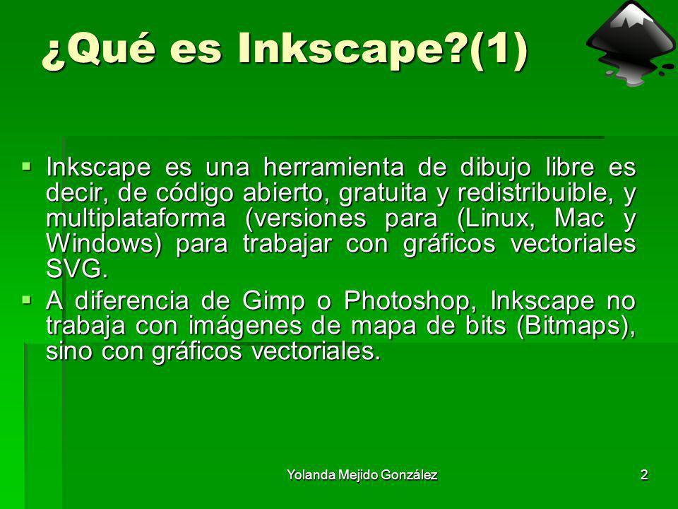 Yolanda Mejido González2 ¿Qué es Inkscape?(1) Inkscape es una herramienta de dibujo libre es decir, de código abierto, gratuita y redistribuible, y mu