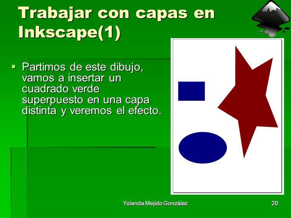 Yolanda Mejido González20 Trabajar con capas en Inkscape(1) Partimos de este dibujo, vamos a insertar un cuadrado verde superpuesto en una capa distin