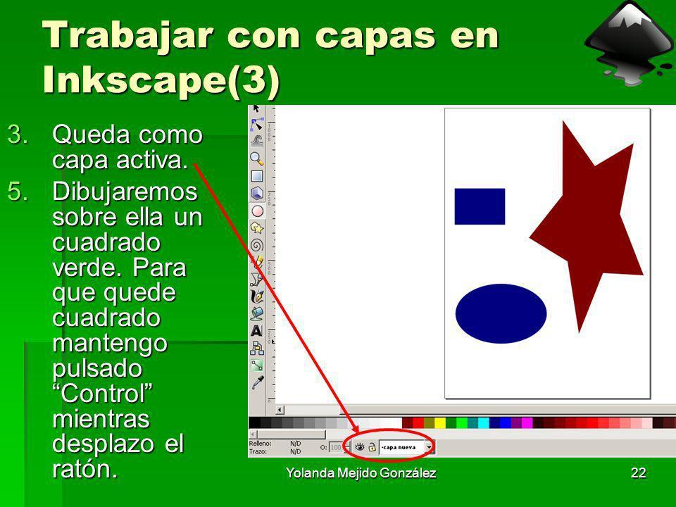 Yolanda Mejido González22 Trabajar con capas en Inkscape(3) 3.Queda como capa activa. 5.Dibujaremos sobre ella un cuadrado verde. Para que quede cuadr